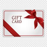 Gift card. With red bow and ribbon Stock Image