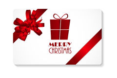 Gift Card with Red Bow and Ribbon Merry Christmas. Vector Illustration Royalty Free Stock Photography
