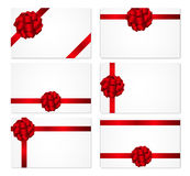 Gift Card with Red Bow and Ribbon Set Vector Royalty Free Stock Photos