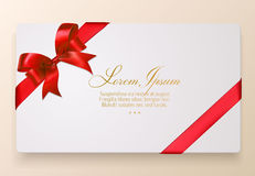 Gift Card with Red Bow and Ribbon. Vector Illustration Stock Image