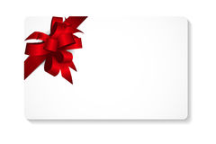 Gift Card with Red Bow and Ribbon Vector Stock Image