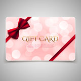 Gift card with red bow Royalty Free Stock Image