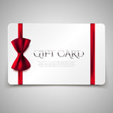 Gift card with red bow. Vector illustration. Voucher, certificate Stock Images
