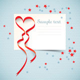 Gift card with red heart ribbon. Royalty Free Stock Photography