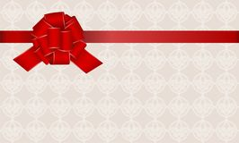 Gift Card With Red Ribbon And A Bow. Stock Image
