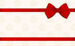 Gift Card With Red Ribbon And A Bow  on beige background.  Gift Voucher Template with  place for text. Stock Photography
