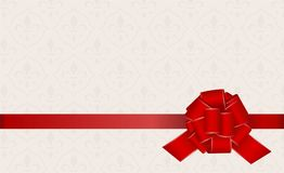 Gift Card With Red Ribbon And A Bow. Stock Photo