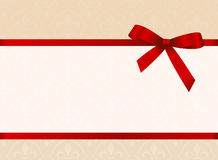 Gift Card With Red Ribbon And A Bow.  Invitation - vector image Royalty Free Stock Images