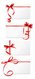 Gift Card with Red Ribbon and Bow Set. Vector illustration. EPS10 Stock Photography