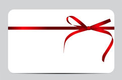 Gift Card with Red Ribbon and Bow. Vector Royalty Free Stock Images