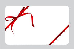 Gift Card with Red Ribbon and Bow. Vector Royalty Free Stock Image