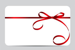 Gift Card with Red Ribbon and Bow. Vector. Illustration EPS10 Stock Images