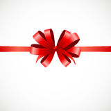 Gift Card with Red Ribbon and Bow. Vector Stock Image