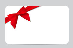 Gift Card with Red Ribbon and Bow. Vector illustration. EPS10 Royalty Free Stock Photo