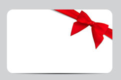 Gift Card with Red Ribbon and Bow. Vector illustration. EPS10 Royalty Free Stock Photos