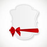 Gift Card with Red Ribbon and Bow. Vector illustration. EPS10 Stock Photos
