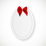 Gift Card with Red Ribbon and Bow. Vector illustration. EPS10 Stock Images