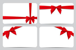 Gift Card with Red Ribbon and Bow. Vector illustration. EPS10 Stock Photo
