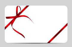 Gift Card with Red Ribbon and Bow. Vector. Illustration EPS10r Stock Photos