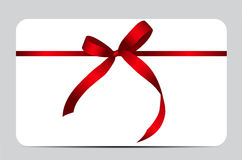 Gift Card with Red Ribbon and Bow. Vector Stock Photos