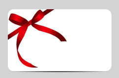 Gift Card with Red Ribbon and Bow. Vector Royalty Free Stock Photo