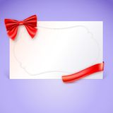 Gift card with red ribbon and bow. Vector illustration Royalty Free Stock Images