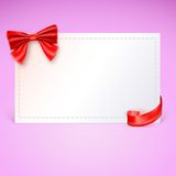Gift card with red ribbon and bow. Vector illustration Stock Image