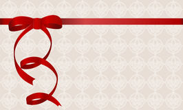 Gift Card With Red Ribbon And A Bow. Royalty Free Stock Images