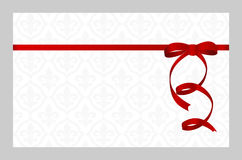 Gift Card With Red Ribbon And A Bow. Royalty Free Stock Photography