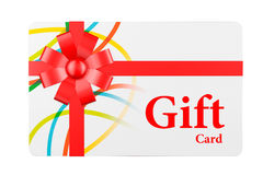 Gift Card with Red Ribbon and Bow Stock Photos