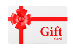 Gift Card with Red Ribbon and Bow Stock Photo