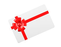 Gift Card with Red Ribbon and Bow Royalty Free Stock Photos