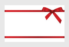Gift Card With Red Ribbon And A Bow. On white background.  Gift Voucher Template.  Vector image Stock Photos
