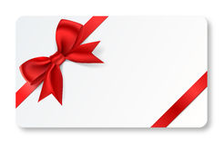 Gift card with red ribbon Stock Photos