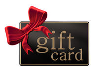 Gift card with red ribbon Stock Images