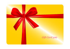 Gift card with red ribbon. vector Royalty Free Stock Image