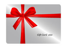 Gift card with red ribbon. vector Royalty Free Stock Images