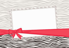 Gift card with red ribbon and zebra texture  Stock Photography