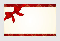 Gift  Card with Red Satin Gift Bow, has space for text on  background. Stock Photo