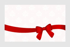 Gift  Card with Red Satin Gift Bow, has space for text on  background. Royalty Free Stock Image