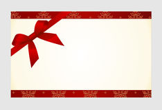 Gift  Card with Red Satin Gift Bow, has space for text on  background. Royalty Free Stock Photo