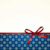 Gift  Card with Red Satin Gift Bow Stock Images
