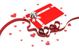 Gift card with ribbon hearts Royalty Free Stock Photo