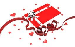 Gift card with ribbon hearts Royalty Free Stock Photo