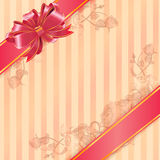 Gift card with ribbon and satin bow Royalty Free Stock Photo