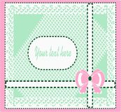 Gift card with ribbons and bow. Gift card with bow and lace in pastel colours . Pink , white , green , blue color perfectly combined with each other Royalty Free Stock Photo
