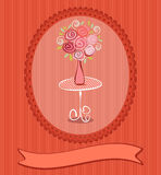 Gift card with roses flowers Stock Photography