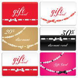 Gift card set. Gift cards decorated with ribbon and gems Stock Photo