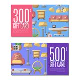 Gift card set for living room furniture Stock Photo