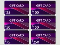 Gift card set. Material design style with gradient. Layers of cut paper. The cards cost in 25, 50, 75 100, 150, 250. Set of vector. Illustration stock illustration